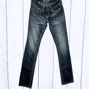 Antique Rivet Distressed Straight Leg Jeans